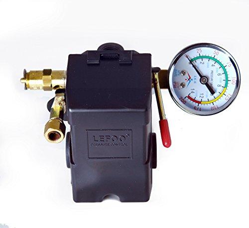 Air Compressor Pressure Control Switch 4 Ports 95-125 PSI w/ 0-200 PSI Gauge 150 PSI pop off valve
