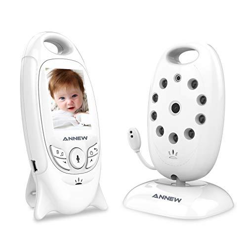 ANNEW Bébé Moniteur Babyphone avec Caméra Vidéo Moniteur Audio Capteur de Température Vision Nocturne Berceuse Entretien Bidirectionnel (VB601-EU)
