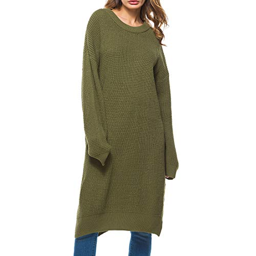 ZHUQI Women Sweater Ladies Sweater Elegant Round Neck Sexy Solid Color Simplicity Comfortable Fashion Knitting Ladies Tops Autumn New Long Loose All-Match Women Dress D-Green M