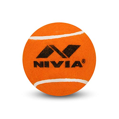 Nivia 375T Rubber Cricket Tennis Balls H/W, Medium (Orange, Pack of 3)