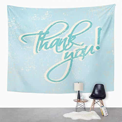 Y·JIANG Tapiz tipográfico retro, agradecimiento, caligrafía vintage, para el hogar, dormitorio, 203 x 152 cm