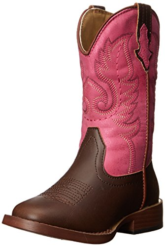 Roper Texsis Square Toe Cowgirl Boot (Toddler/Little Kid), Pink, 8 M US Toddler