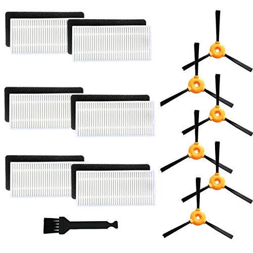 Replacement Parts Fit for EcoVacs DEEBOT N79S DEEBOT N79 DEEBOT 500 DEEBOT N79W Robotic Vacuums Accessories - Filters+ Side Brushes PACK OF 1 WITH 18 pieces set