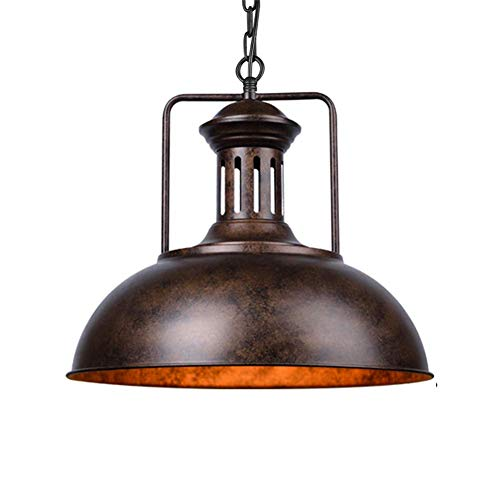 E27 vintage hanglamp retro industriële hanglamp metaal hanglamp ijzer binnenplafond decoratieve verlichting woonkamer slaapkamer eettafel hal trappen loft balkon hanger licht, Ø 33 cm Rustkleur