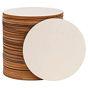 Motarto 50 Pieces 5 Inch Round Wood Discs for Crafts Blank Unfinished Wood Circle Pieces for Painting Writing and DIY Home Decor