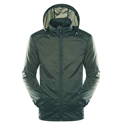 G&F Hommes Anti-UV Manteau Softshell Protection Solaire Veste Respirant Étanche pour Plein Air (UPF30+) (Color : Green, Size : 5XL)