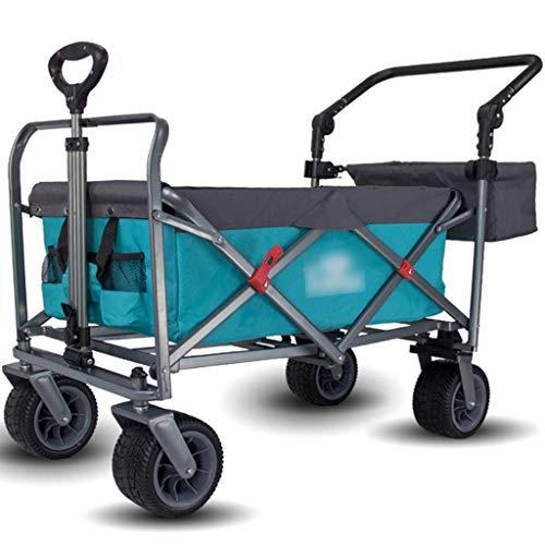LBBGM Klappwagenwagen, Abnehmbarer Gartenanhänger, tragbarer Außenwagen, Wilde Campingwagen, klappbarer Picknickwagen (Farbe: Blau, Größe: 119 * 67 * 55 cm)