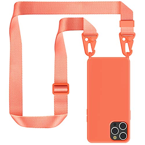 ZhinkArts Cadena para teléfono móvil compatible con Apple iPhone 12 Pro Max – Pantalla de 6,7 pulgadas – Funda de teléfono móvil con banda – Funda de silicona con cadena para colgar en naranja modular