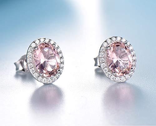 Massief 925 sterling zilveren oorknopjes oorbellen rose roze saffier oorbellen bruiloft engagement sieraden gift