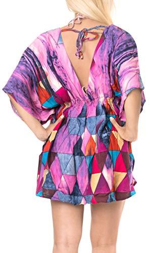 LA LEELA Damska sukienka plażowa z nadrukiem i zakrycia damska boho sukienka plażowa krótkie rękawy boho sznurek stroje kąpielowe na wakacje stroje plażowe rayon bikini luźny kostium kąpielowy