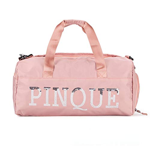 PINQUE Sport Duffel Travel Gym Bag, Waterproof Holdall, Wet Kits, Shoes Compartment Weekend Bag for Women, Men (Pink)