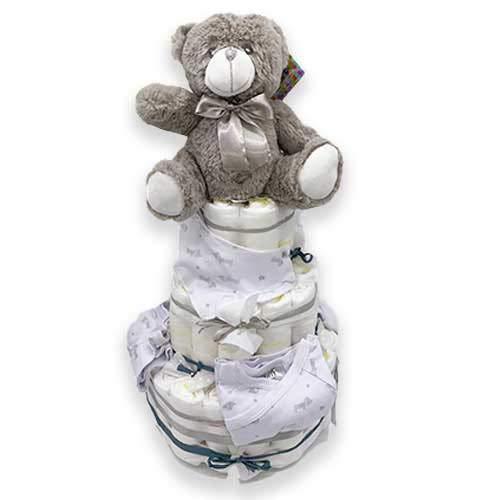 Tarta pañal DODOT UNISEX - Regalo recién nacido - Incluye ropa bebé y DEDICATORIA (3 pisos)