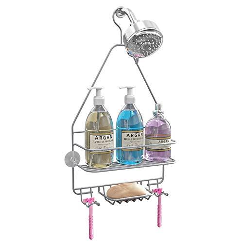 Hanging Shower Caddy, Shower Organizer Shelf, Bathroom Storage Rack Over Shower Head, Shampoo Soap Holder, Silver
