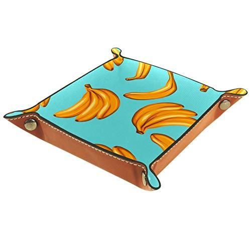 Leder Valet Tray, Würfel Tray Folding Square Holder, Kommode Organizer Platte für Wechsel Münzschlüssel Bananenblau