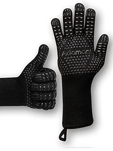 Adamant Grillhandschuhe hitzebeständig bis 800 Grad mit Magnetschlaufen extra lang schwarz | Grill Handschuh Universalgröße | Grill Zubehör für Gasgrill Handschuhe Grillen Geschenke für Männer