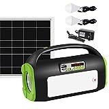 UPEOR Solar Generator Lighting System Portable Solar Power Generator Kit for Emergency Power Supply,Home & Outdoor Camping,Including MP3&FM Radio,Solar Panel,3 Sets LED Lights (Dark Green)