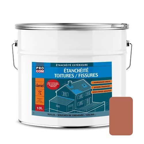Peinture, résine d'étanchéité toiture, réparation tuiles, fissures, anti-fuites, décore, protège, plusieurs coloris PROCOM 10 litres Terre cuite