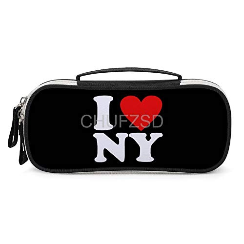 I Love NY Large Capacity Pencil Pouch Stationery Organizer Multifunction Cosmetic Makeup Bag for Teenagers Women