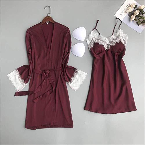XFLOWR Frauen Nachthemd Sommer und Frühling Damen Seidenfleck 2-teiliges Set Kleid + Mantel Langarm Spitze Popeline Schlafrock Nachtwäsche L Deep Red