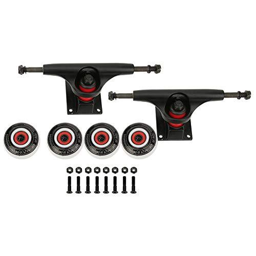 2個ブラケット 4個ホイール スケートボードホイールセット ホイールとブリッジ 耐衝撃性 高強度 耐摩耗性 堅牢 スケートボードキット アルミニウム合金 クロム鋼 PU 鉄製