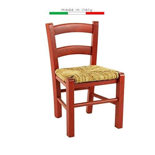 Sedia seggiola Bambini baby Bassa Bambino Bimbo Legno Festa Colorata Ristorante Cucina Paglia (Rosso, 1)