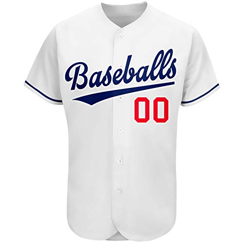 Custom Baseball Jersey Blank & Printed & Stitched Full Button Shirts with Name and Number for Men-M