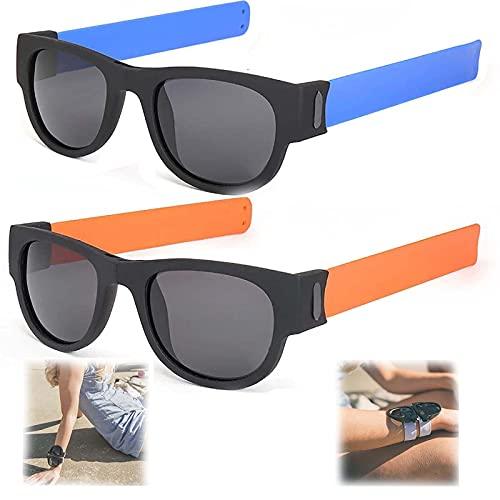 WBias&Belief 2 Paquetes Brazalete Plegable Gafas De Sol,Gafas De Sol Polarizadas Aqua Silver, Gafas de Sol Deportivas para Montar, Gafas Oscuras De Muñeca,Gafas De Sol para Hombres Y Mujeres,F