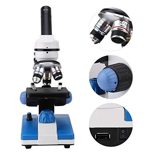 Microscopio de ciencias biológicas, microscopio monocular WF10X 40-400X de ciencias biológicas para experimentos, inclinación de 30 grados y rotación de 360 grados(NOSOTROS)
