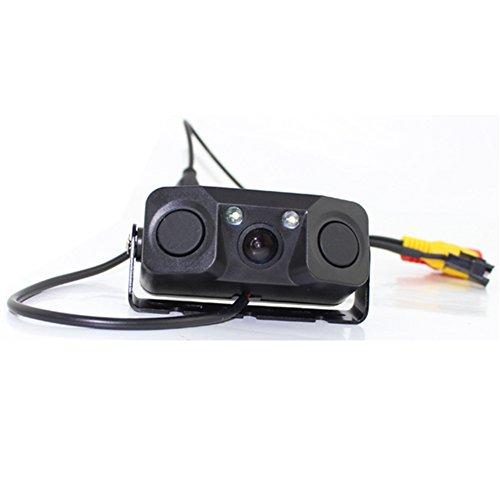 FOORDAY - Cámara de visión Trasera para Coche, Resistente al Agua, con 2 radares de Asistencia, Monitor preciso para Aparcamiento, Color Negro