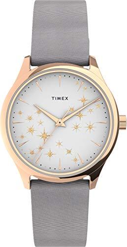 Timex Starstruck 32 mm Womens Rose Gold tone Case Gray Leather Strap Watch TW2U57200