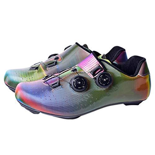 LIXIYU Ciclismo Scarpe Mens Tacchetti in Bici da Corsa di Formazione Scarpe Mountain Bike Scarpe Traspiranti in Bicicletta Spinning Scarpe Indoor Microfibra Scarpe,Pink-41