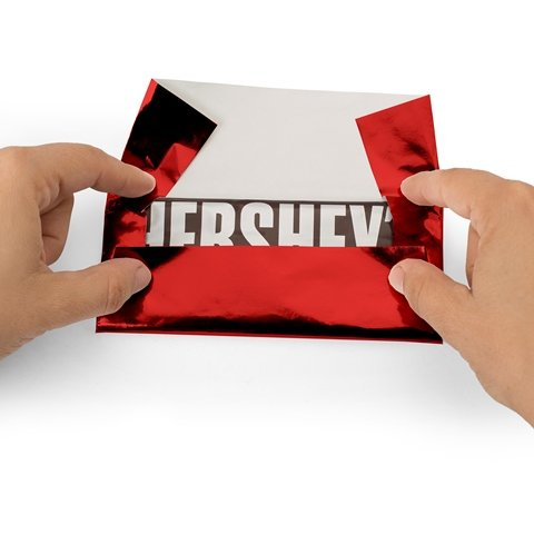 Foil Wrapper (Red) - Pack of 100 Candy Bar Wrappers with Thick Paper Backing - Folds and Wraps Well - Best for Wrapping 1.55Oz Hershey/Candies/Chocolate Bars/Gifts - Size 6' X 7.5'
