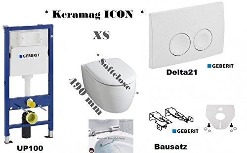 Geberit Duofix Vorwandelement Wand WC-Set + Keramag ICON XS Wand WC Spülrandlos