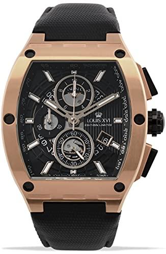 LOUIS XVI Tonneau 1022 Noblesse - Reloj de pulsera para hombre (cronógrafo, analógico, cuarzo, acero inoxidable), color oro rosa y negro