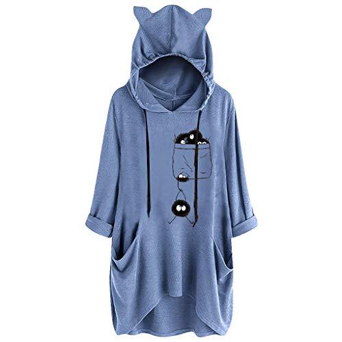 BOLANQ Damen Pullover top Shirt, Crewneck Hooded Gym XL camo neon 7XL fit m Rock 90s grau hd Big FDNY top Tank Tops Model Neckholder (Medium,Blau)
