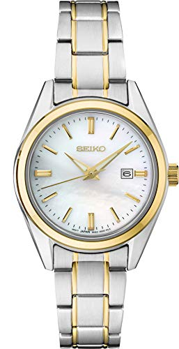 Seiko Ladies Two Tone Mother of Pearl Sapphire Crystal Watch SUR636