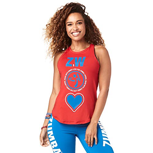 Zumba Activewear Fitness Training High Neck Tank Top Graphic Dance Sportbekleidung Damen, Viva La Red, S