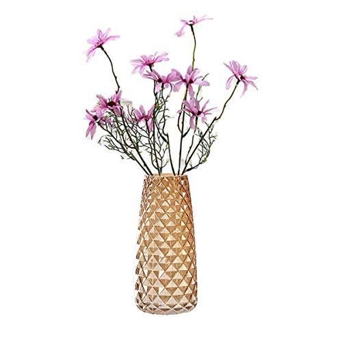 FUBAO Vase à fleurs en verre transparent lourd – 22 cm, grand vase à fleurs en cristal, centre de table pour maison, jardin, café, décoration de mariage, motif ananas (ambre)