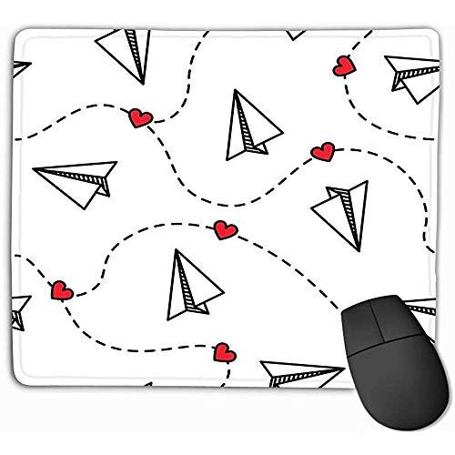 Aangepaste rechthoek muismat, Leuke Gaming Mouse Pad Mat 30X25CM Papier Vliegtuigen Hartjes Liefde Valentine Concept Papier Vliegtuigen Hartjes Liefde Valentine Prints