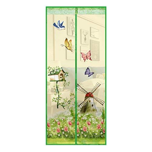 Intérieur Moulin à vent modèle moustiquaire rideau anti-moustique maille aimant moustiquaires pour poussettes et landaus draperies cadre Grand moustiquaires ( Color : Green , Taille : 90*210cm )