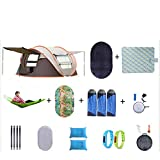 SHR-GCHAO Familia-Style Tienda Automática Set / 3~4 Personas/Cuatro Lados Diseño De Ventilación/Ideal para Familias Y Grupos, Camping, Fiesta (240 * 150 * 110 Cm),Marrón,3~4 People