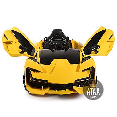 ATAA F1 Racing - Amarillo - Espectacular Coche eléctrico para niños Super Deportivo Aventador Grandes Dimensiones con Mando Remoto batería 12v