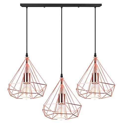iDEGU Hängeleuchte, 3 Lampen, Industrielle Hängeleuchte, Retro, Deckenleuchte, in Diamant-Form, aus Metall, Hängeleuchte, für Wohnzimmer, Esszimmer, Küche, 25 cm roségold