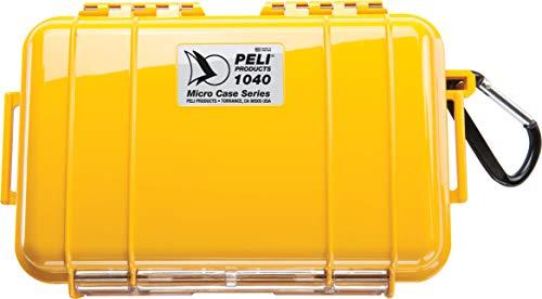PELI 1040 Peli Micro Case-Wasserdichtes Schutzetui, IP67-Zertifiziert, 0,7L Volumen, Hergestellt in den USA, Gelb/ Schwarze Gummieinlage
