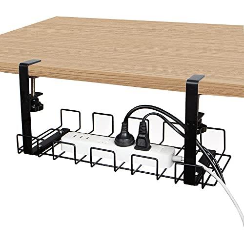 Calife ワイヤーケーブルトレー 簡易組立 配線整理 コードかくし コード収納 幅40cm 穴あけ不要 スチール製 (黒)