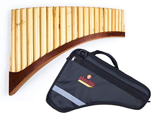 Panflöte aus Bambus, Indianische Flöte, rumänische Bauart, Profi-Flöte 22 Tönen/Rohren in G-Dur mit hochwertigen Holzschuh im SET mit TASCHE, für Anfänger und Fortgeschrittene, handgemacht, handmade von Plaschke Instruments aus Südtirol/Italien