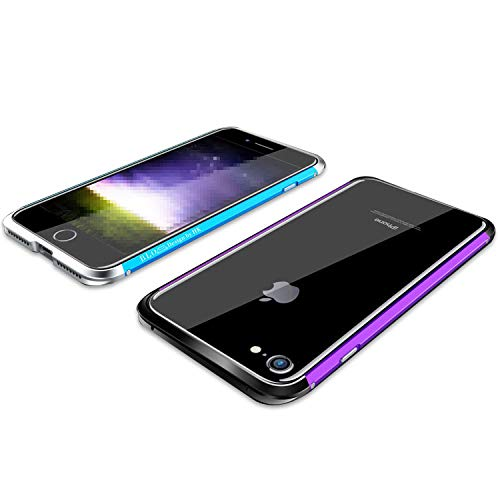apple iPhone 8 アルミバンパー ケース/カバー 際立つエッジ 金属アルミ かっこいい アイフォン8/7 メタルサイドバンパー アップル おしゃれ スマフォ スマホ スマートフォンケース/カバー(パープル+シルバー)