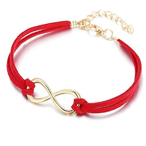 JWWLLT BIJOUTERIE JOYERÍA Rojo Lucky NUESO 8 Pulsera Tejida del Nudo para la Pulsera de la Brazalete de la Mujer Brazalete de Brazalete en el Hilo Rojo (Length : 20cm, Metal Color : Red)