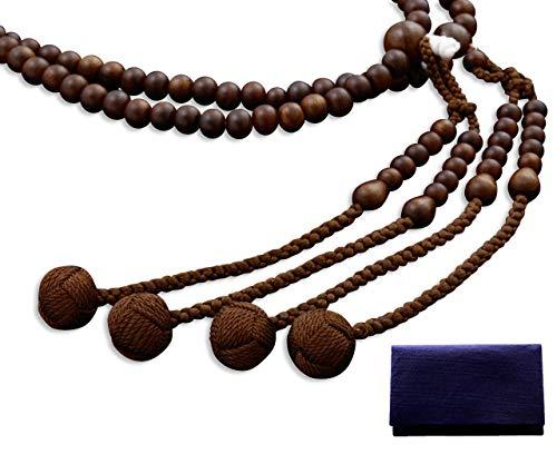京仏壇はやし 数珠 真言宗 尺二 栴檀 (男性用) 正式 本式 【 数珠袋セット 】 SM-035 京都 念珠