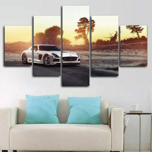 BAEPAYF Canvas Wall Art 150X80 Cm Non-Woven Canvas Prints Image Framed Artwork Painting Picture Photo Home Decoration 5 Pieces Mercedes-Benz Sls White